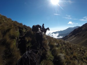 From the high Andes you will ride above the clouds